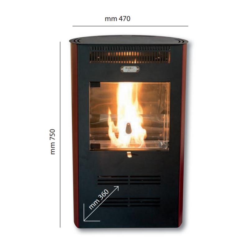 stufa ventilata bioetanolo ruby elegance misure