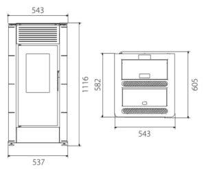 dimensioni termostufa a pellet selena 15-18 kw